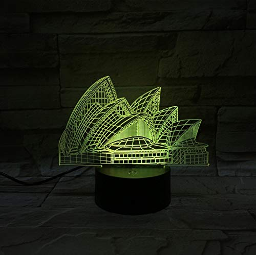Sydney Opera House 3D Vision lámpara estéreo 7 colores colores colores cambiantes lámparas de escritorio táctiles Creative Small Night Light LED Lámparas 3D 7b1641