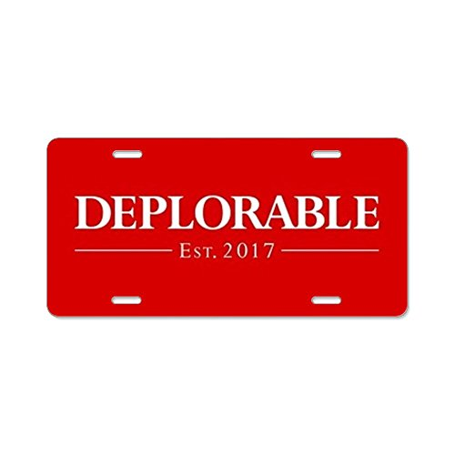 CafePress - Deplorable Est 2017 - Aluminum License Plate, Front License Plate, Vanity Tag -