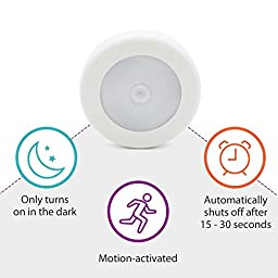 ZEEFO 3 Pack Motion Sensing Light, Battery-Powered LED Night Light Stick-on Anywhere for Hallway Basement Garage Bathroom Closet Kitchen Stairs Wall Light with 3M Adhesive Pads,Built in Magnet (White)