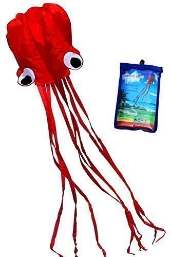 Octopus Kite (Hengda Kite Software Octopus Flyer Kite with Long Colorful Tail for Kids, 31-Inch Wide x 157-Inch Long, Large, Red)