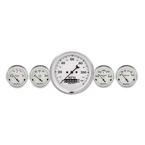Auto Meter 1640 Old Tyme White 5 Fuel/Oil/Speedo/Volt/Water Gauge Kit (Chrysler Oil Pressure Switch Socket)