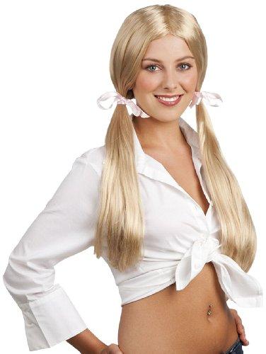 School Girl Long Blonde Hair Wig Braids Womens Hen Party Fancy Dress Costume ()