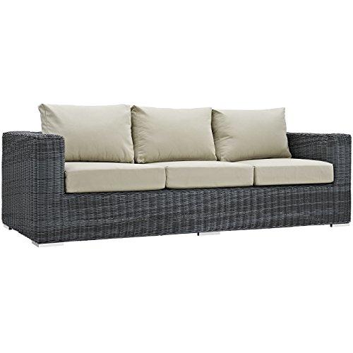 Modway SummonOutdoor Patio Sofa With Sunbrella Brand Antique Beige Canvas Cushions