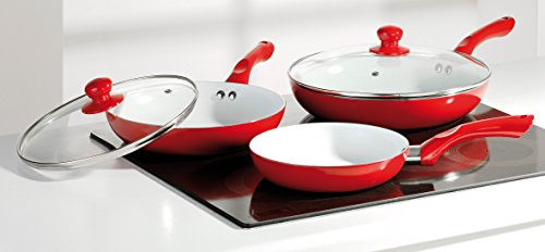 NATURAL LINE  Bratpfannen-Set 5-teilig rot, Keramik-Beschichtung, 20/24/28 cm, mit Glasdeckel 24/28 cm, induktionsgeeignet