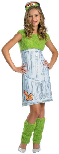 Girl'S Costume: Sesame Street Oscar- Large - Product Description - Green Plush And Silver Trash Can Print Dress With Leg Warmers And Oscar The Grouch Character Headband. Children'S Large Fits Girl'S Size 10-12. ... ()