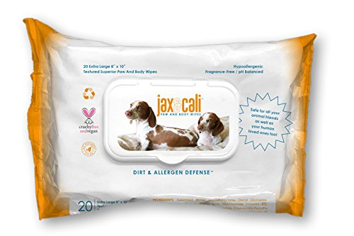 JAX & CALI Pet Wipes - Natural Textured Paw and Body Wipes - Holistic - Hypoallergenic - Cruelty Free - Vegan - Extra Large 8 Inches x 10 Inches - for Dogs and Cats - 20 Count