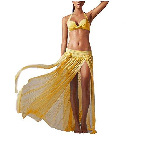 PU&PU Frauen-Beach-Cover-Up Lange Röcke Elastische Mesh-Garn Niedrige Taille Solid One-Pieces Spandex White 3ggRPX6d