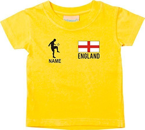Shirtstown Camiseta Niño Camiseta de Fútbol Inglaterra con su Jungen Estampado - Amarillo, 0-