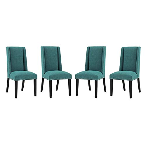Modway Baron Dining Chair Fabric Set of 4, Four, Teal