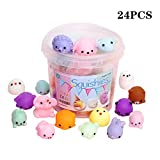 Squishies squishy toy party favors for kids mochi squishy toy moji kids party favors 24pcs bulk mini kawaii squishies mochi animals stress reliever anxiety toys squishy cat squishys with storage box