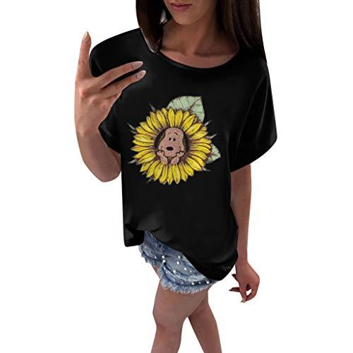 - Shusuen Women's Loose Casual Short Sleeve Sunflower Print Top T-Shirt Blouse
