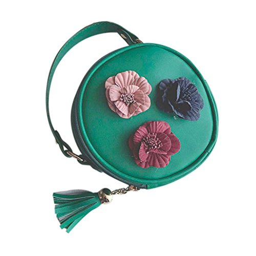 Messager Snap (CieKen Women's Mini Stereo Flowers Handbag Retro Bags PU Leather Small Shoulder Handbags Tote Ladies Purse (Green))