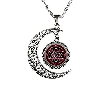 Amazon com: Crescent Moon Occult Pentacle jewelry Samael Lilith