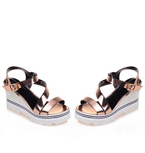 AgooLar Women's High-Heels Open Toe Buckle Solid Sandals Gold yP4ECypY8l