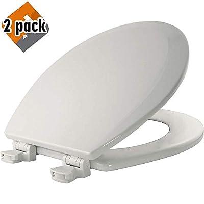 Bemis 500EC 000 Wood Round Toilet Seat With Easy Clean & Change Hinge, White - 2 Pack