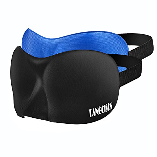 TANGCISON Eye Mask Sleep Mask, 2 Pack 3D Eye Mask for Sleeping, Bamboo and Cotton Material Eyeshade, Sleep Eye Mask with Adjustable Strap for Women and Men (Black and Blue)