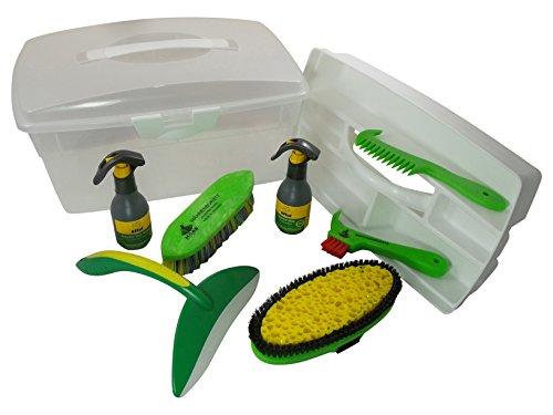 Haas Wasch - Putzbox mit Putzzeug und Pflegemittel für Pferde zum waschen - Schweißmesser, Kardätsche mit Schwamm, Pferdeshampoo und mehr
