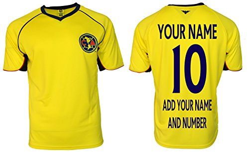 Club America Adults Soccer Jersey Performance Add Your Name and Number (S, Yellow T1A04)
