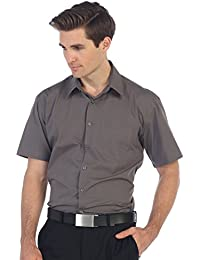 Men's Short Sleeve Solid Dress Shirt