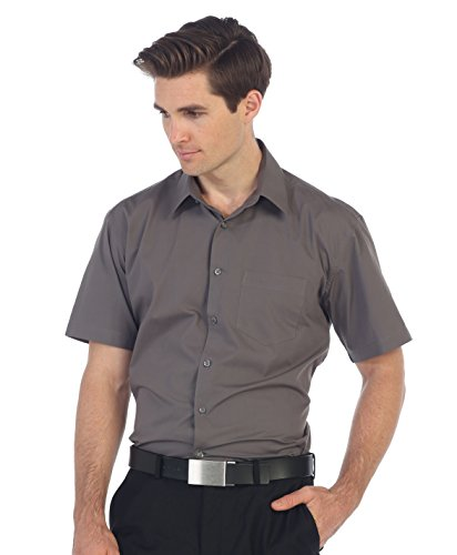 Dark Gray Dress Shirt - Gioberti Men's Short Sleeve Solid Dress Shirt, Dark Gray, 4X-Large