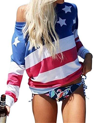 And Manche Blue sans Shirts Sangle Manches Long Longue T Femme Chic Dsinvolte Red Mode Tops Bouffant Automne Bretelles Shirt USA Printemps Imprim Haut Shirt Bp4Bxqwr