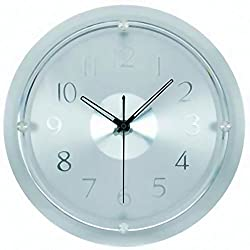 Tempus® TC6032C Contemporary Wall Clock with Glass Frame and Daylight Saving Time Auto-Adjust Movement, 13-1/2, Chrome
