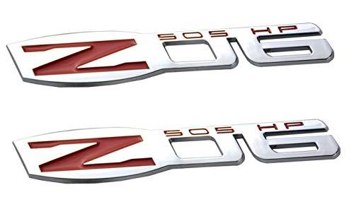 (x2 Corvette Z06 Emblem Replaces For Fender/Trunk Badge ZO6 (Chrome Red))