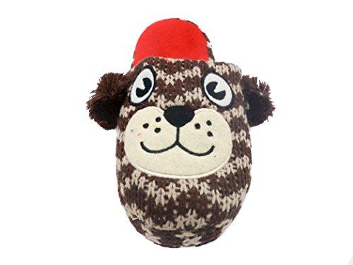 Ladies Animal Zig Zag Knit Slippers with Pom Poms Bear: Brown & Red z7CD0Xm8VK