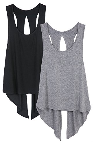 icyzone Sexy Yoga Tops Workout Clothes Racerback Tank Top for Sport Women (M, Black/Grey) ()