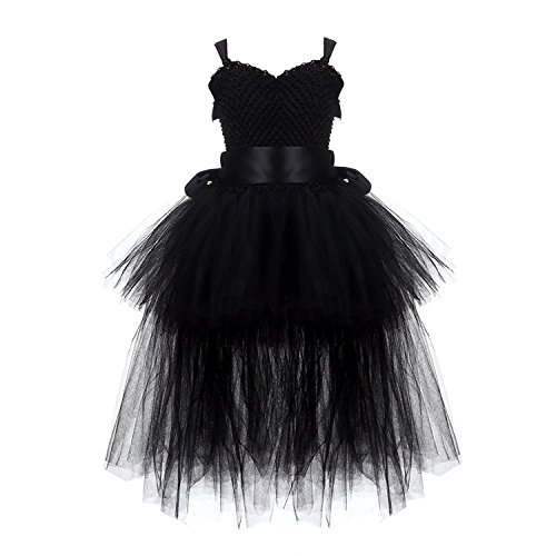 Rizoo Little Girls Cute High Low Layered Tutu Summer Dresses Birthday Party Special Occasion Dress up (3-4T, Black)
