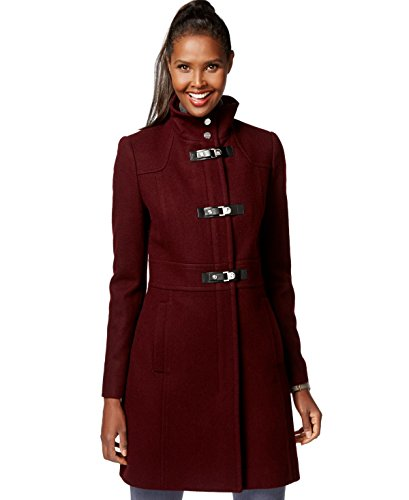 Buckle Front Jacket (Kenneth Cole Faux-Leather-Trim Buckle-Front Walker Coat, Wine, 14)