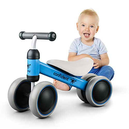 Sanwillco Baby Balance Bike -Riding Toys for 1 Years Old Boy - No Pedal Infant 4 Wheels Toddler Bicycle - Perfect Present as First Bike or Birthday or Christmas Thanksgiving Day Gift for Baby - Blue