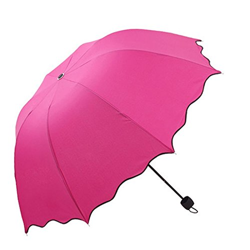 Bookear Clearance! Flouncing Folding Lotus Leaves Princess Dome Parasol Sun/Rain Umbrella (Hot Pink)