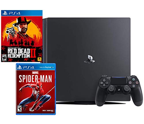 PlayStation 4 PRO Red Dead and Spider-Man Bundle: RED Dead Redemption 2, Marvel's Spider-Man, PlayStation 4 PRO 4K HDR 1TB Console