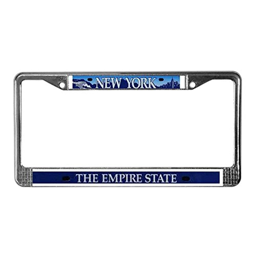 (Jesspad New York/Empire State License Plate Frame - Chrome License Plate Frame, License Tag Holder,Auto Frame Cover)
