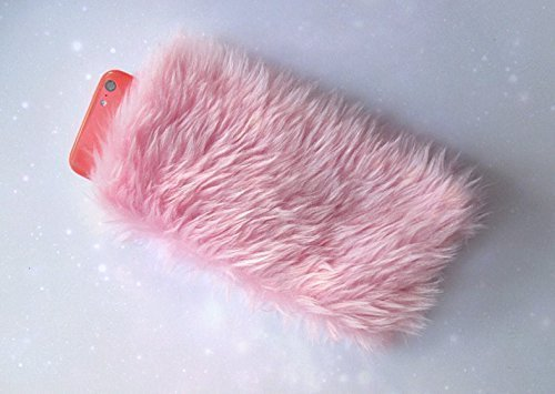 the latest bf0ff e3b34 Amazon.com: Pink Furry Phone Case iPhone 5 6 8 7 Pouch Fur Fluffy ...