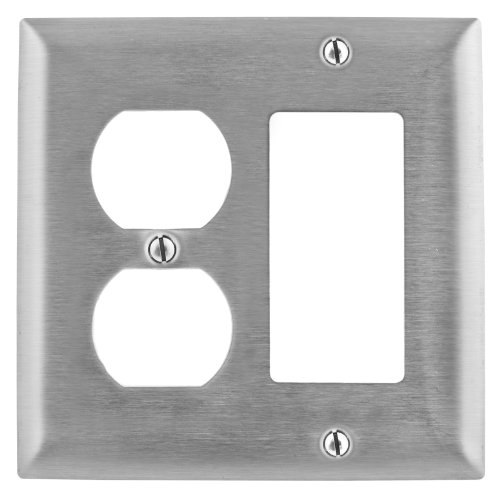 Bryant Electric SS826 Metallic Wallplate, 2-Gang, 1 Duplex 1