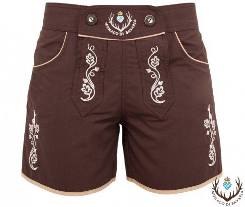 Originell DAMEN Shorts Classic, Lederbadehose, Freizeithose, Badelederhose, Trachten Badehose vollflächig bestickt Premiummarke Monaco di Bavaria