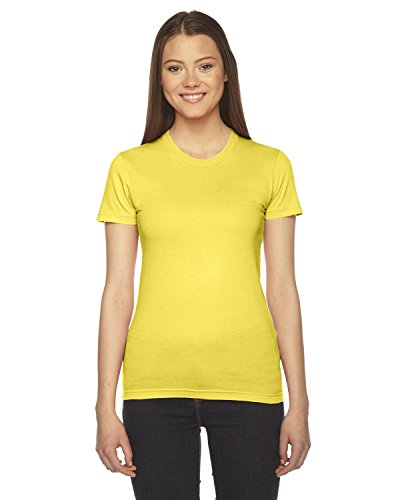 American Apparel - Fine Jersey Short Sleeve Damen T, Large, Sunshine