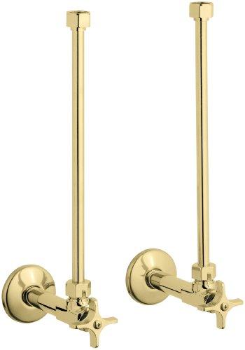 Kohler K-7606-P-PB Pair 1/2'' Npt Angle Supply with Stop, Annealed Vertical Tube, Vibrant Polished Brass by Kohler