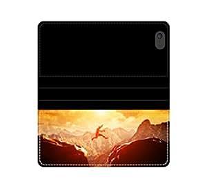 Saltando sobre el precipicio between two maculosa at Sunset funda de piel con tapa con tarjetero y compartimento para billetes iPhone 4 4S 5 5S 6 6S/Samsung S3 S4 S5
