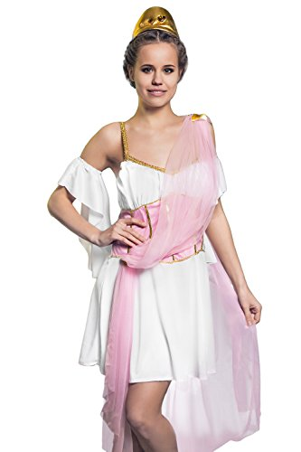 Greek Olympian Costume (Adult Women Love Goddess Costume Aphrodite Venus Role Play Greek Beauty Dress Up (Small/Medium, Pink/White))