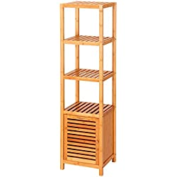 Ollieroo 5 Tier Natural Bamboo Floor Cabinet Bathroom Tower Storage Shelf Multifunctional Display Rack