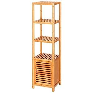 Ollieroo 5 Tier Multifunctional Bamboo Tall Floor Cabinet Bathroom Storage Solution