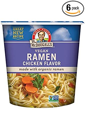 Dr. McDougall's Right Foods Ramen Chicken Soup with Noodles, 1.8 Ounce Cups (Pack of 6)