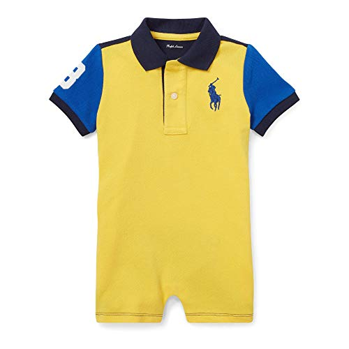 Polo Ralph Lauren Coming & Going Big Pony Shortall Sunfish Yellow Blue (9 Months) (Ralph Lauren Baby Boy Bodysuit)