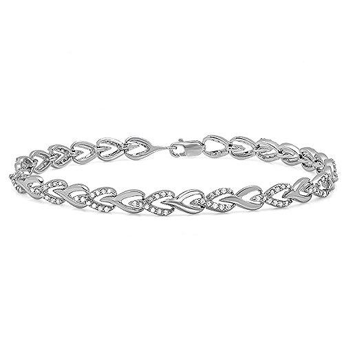 1.00 Carat (ctw) 10K White Gold Round White Diamond Ladies Tennis Link Bracelet 1 CT