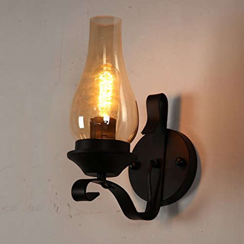 American Retro Single Head Wrought Iron Wall Lamp, Glass Lampshade Bedroom Bedside Lamp, Creative Staircase Aisle Lamps