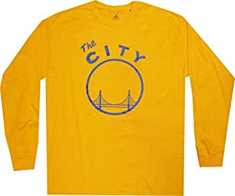 Golden State Warriors Vintage The City Adidas Gold T Shirt LONG Sleeve (Small)