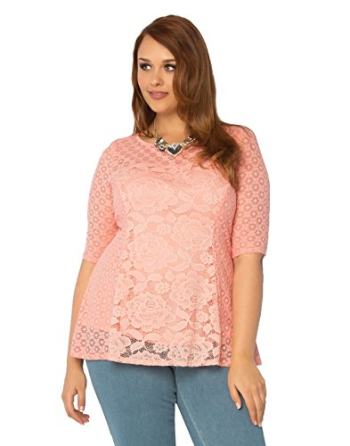 Kiyonna Women's Plus Size Delicate Dream Top 1X Sweet Tart
